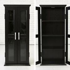Black Storage Cabinet 2 Glass Doors Modern Elegant Wood DVD Games Media Tower