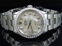Mens Stainless Steel Rolex Air King Oyster 34MM MOP Dial Diamond Watch 2.5 Ct