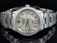 Mens Stainless Steel Rolex Air King Oyster 34 MM MOP Dial Diamond Watch 2.5 Ct