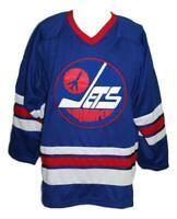 Any Name Number Size Winnipeg Jets  Custom Hockey Jersey Blue Bobby Hull