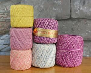 Lot of 6 J & P Coats Cotton Knit Crop-Sheen Threads Boilfast Mercerized Crochet