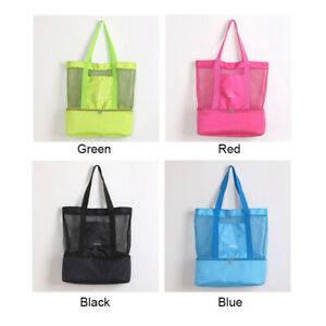 Large Mesh Beach Outdoor Picnic Tote Shoulder Bag Dual-Layer Insulated Beach Bag