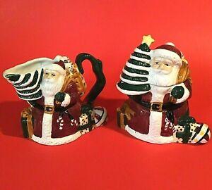 SANTA CLAUS CREAMER & SUGAR SET OF 2 CHRISTMAS TREE ROSE GARDEN GIFTS VINTAGE