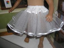 "White Tulle Slip Petticoat Crinoline White Ribbon 23"" Doll clothes fit My Twinn"