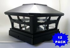 12 Plastic Solar Black Square Post Cap LED Fence Mount 5x5 Garden Outdoor Light