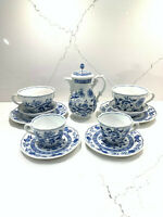 Blue Onion Scalloped Rim Hutschenreuther Germany Tea Coffee Set Pot Cups Saucers