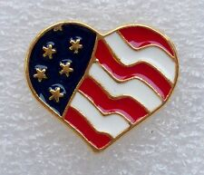 US Flag heart pin, gold plate, made in America!
