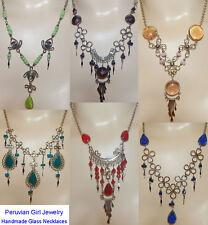 4 GEM COLORED GLASS NECKLACES ALPACA SILVER PERU JEWELRY LOT PERUVIAN ARTWORK