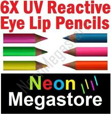 6 X Stargazer UV Reactive Neon Eye Lip Pencil Liner Set