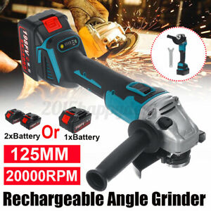 388VF 100mm Electric Cordless Brushless Angle Grinder Grinding with 1/2 Batter