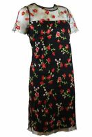 Womens Black Mesh Embroidered Flowers Shift Short Sleeve Party Summer Dress 6-20