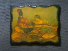 More details for vintage - brace of pheasants  print on wood block picture - countryside wildlife