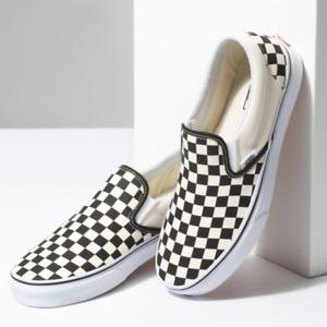 Vans Classic Slip-On Black/Off White Checkerboard Skateboarding Shoes for Men