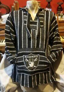 NFL Las Vegas RAIDERS Baja hoodie pullover Mexican sweater Large