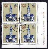DDR Mi Nr. 2776 4er Block mit Druckvermerk DV, gest., Rathäuser 1983