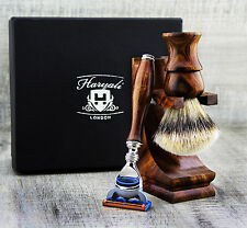 Pure Wooden Shaving Set For Men's With Silver Tip Badger Hair &  Safety Razor