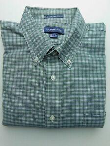 NWOT Lands End Green Blue Check Button Down Dress Shirt Regular Fit 16 1/2 - 34