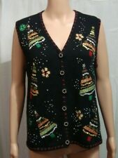 DESIGNERS ORIGINAL JOY Womans Black Ugly Christmas Tree Sweater Vest Size XL