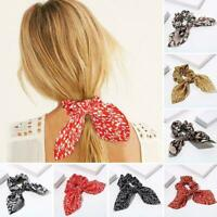 1* Leopard Floral Print Elastic Bow Hair Rope Scrunchie Hair Ties Ponytail E7D7