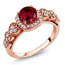 Ruby Red Ring 18K Rose Gold Plated Valentine's Day Gifts for Women Wife 1.32 Ct