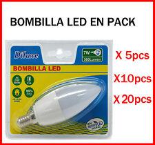BOMBILLA DE VELA LED 7W CASQUILLO PEQUEÑO E14 LUZ CALIDA 3000K PACK DESDE 5 UDS