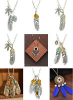 Newly Women Girl Retro Feather Pendant Jewelry Long Sweater Chain Necklace Gift