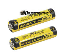 2pcs SKYRAY 10440 3.7V 600mAh Rechargeable Lithium Battery Yellow for Ultrafire