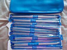Aluminum knitting needles,11 sets, sizes 1,2,3,4,5,6,7,8,9,10,10.5, 14 in + case