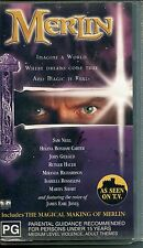 PAL VHS VIDEO TAPE : MERLIN, SAM NEILL, plus THE MAGICAL MAKING OF MERLIN