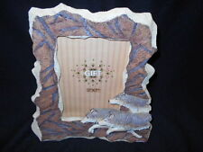 "Wolf Picture Frame - 11"" x 12"" Overall - Holds 5"" x 7"" Picture - Resin"