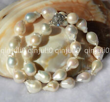 "12-18MM WHITE SOUTH SEA PEARL NECKLACE 18"" Rhinestone Magnet Clasp JN463"
