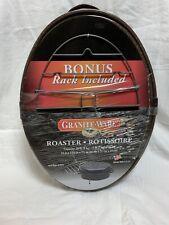 "NEW GRANITE WARE Pan Large 18"" Covered Oval Roaster + Rack Turkey Oven Roasting"