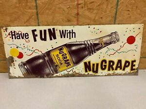 "Vintage Original NuGrape Soda Tin Sign ""Have Fun With NuGrape"" Rare 30"" x 12"""