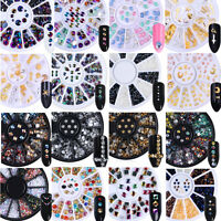 3D Nail Art Tips Studs Gem Crystal Glitter Rhinestones Decoration Wheel DIY