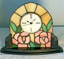 """LINDEN Table Clock """"Tiffany"""" Inspired Genuine Stained Glass Rose Motif Vintage"""