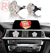White Flowers Air Vent Sparkle Rhinestone Diamond Clip Car Interior Accessories
