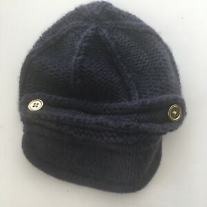 Baby Gap Navy Knit Hat Gold Buttons Size 0-3 Months