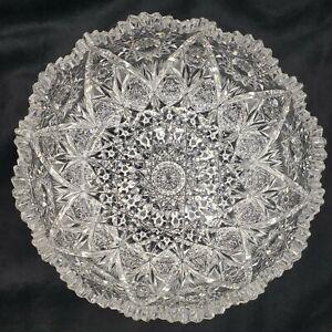 "Stunning ABP AMERICAN BRILLIANT Cut Glass Bowl 9"" Heavy Patterned & Sawtooth Rim"