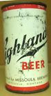 HIGHLANDER BEER CNO 4% ss IRTP Flat Top CAN, USBC 82-7, Missoula, MONTANA 1950's