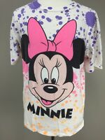 VTG 80s 90s Disney Minnie Mouse All Over Neon Dayglo Print T Shirt Large L