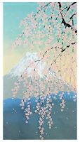 JAPANESE Noren Curtain Mt, Fuji Spring Harufuji Made in JAPAN 85 x 150cm