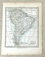 1838 Antique Map of South America Brazil Patagonia Old Hand Coloured Engraving