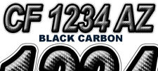 Black Carbon Boat Registration Numbers or PWC Decals Graphics Stickers