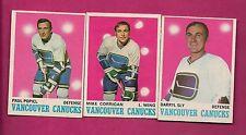 1970-71 OPC CANUCKS SLY RC + CORRIGAN RC + POPIEL   CARD (INV# A1910)