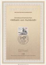 TIMBRE FDC ALLEMAGNE BERLIN OBL ERSTTAGSBLATT WILHELM VON HUMBOLDT 1985