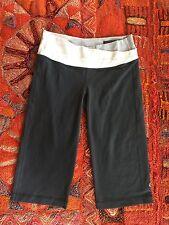 LULULEMON Astro Crop Capri Coal Gray Wee Stripe Black White Waistband Pants 6