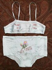 Vtg 1940s Wwii Off Limits Sweet Sour Satin Bra & Panties Sweetheart Lingerie Set
