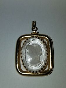 Modern REVERSE CARVED GOLD TONE CAMEO faceted CRYSTAL PENDANT