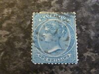 MAURITIUS POSTAGE STAMP SG69 1/-  BLUE 1866 USED