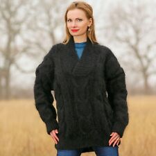 Black mohair sweater thick cable knit jumper shawl collar pullover SUPERTANYA